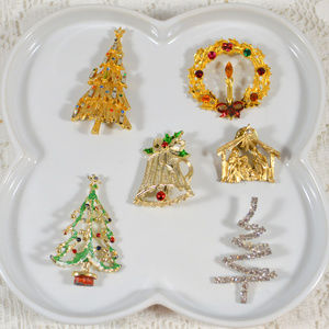 Vintage Christmas Pin Brooch Lot Bundle of 6 Pins
